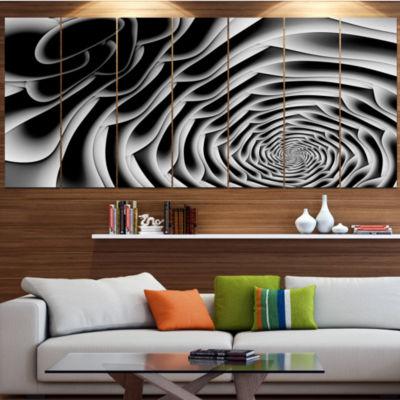 White Flower Shaped Fractal Art Abstract Wall ArtCanvas - 5 Panels