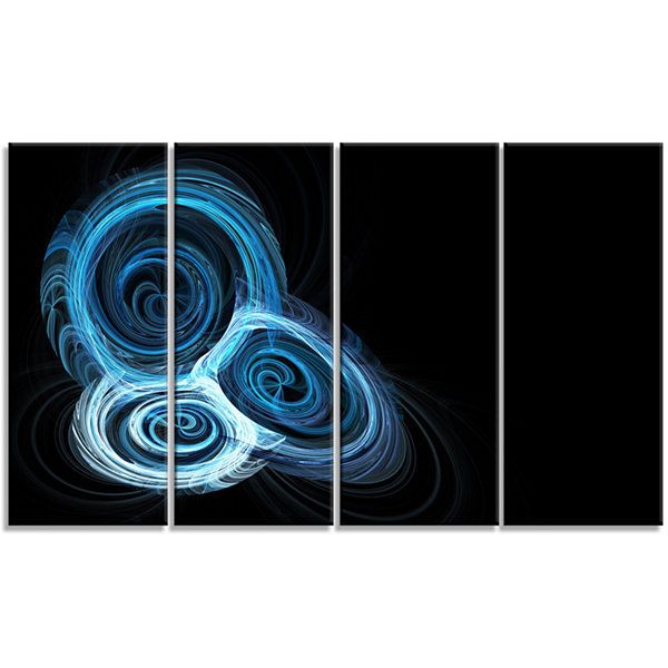 Design Art Blue Spiral Nebula On Black Abstract Wall Art Canvas - 4 Panels