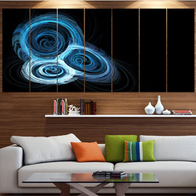 Designart Blue Spiral Nebula On Black Abstract Wall Art Canvas - 4 Panels