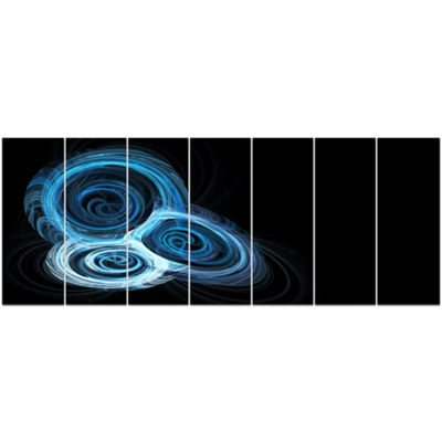 Designart Blue Spiral Nebula On Black Abstract Wall Art Canvas - 7 Panels