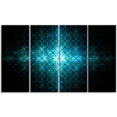 Blue Flash Of Light On Radar Abstract Wall Art Canvas - 4 Panels