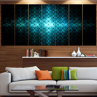 Designart Blue Flash Of Light On Radar Abstract Wall Art Canvas - 6 Panels