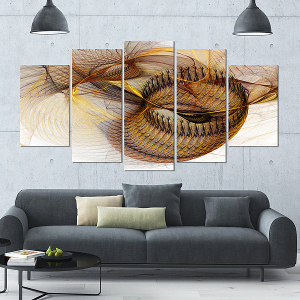 Designart Abstract Brown Spiral Texture Brown Abstract WallArt Canvas - 5 Panels