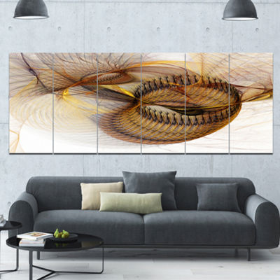 Designart Abstract Brown Spiral Texture AbstractWall Art Canvas - 6 Panels