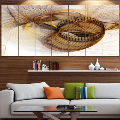 Designart Abstract Brown Spiral Texture AbstractWall Art Canvas - 7 Panels
