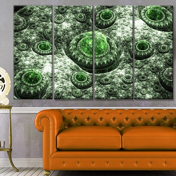Exotic Green Fractal Landscape Abstract Wall Art Canvas - 4 Panels