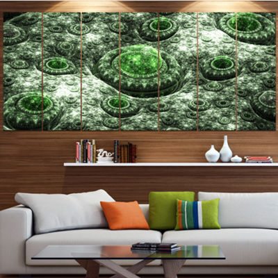 Exotic Green Fractal Landscape Abstract Wall Art Canvas - 6 Panels