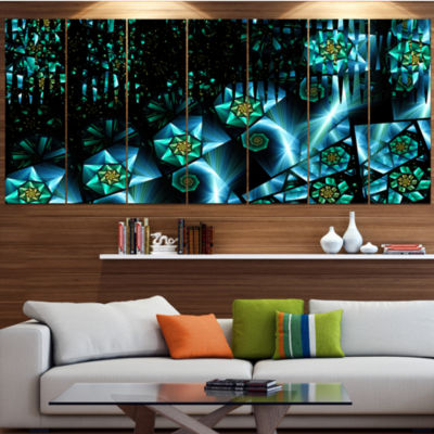Bright Blue Fractal Flowery Sky Abstract Wall ArtCanvas - 6 Panels