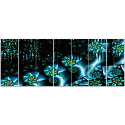 Bright Blue Fractal Flowery Sky Abstract Wall ArtCanvas - 7 Panels