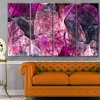 Designart Abstract Purple Fractal Illustration Abstract WallArt Canvas - 4 Panels