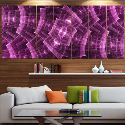 Purple Metal Protective Grids Abstract Wall Art Canvas - 7 Panels
