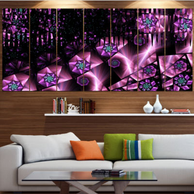 Purple Radiance Of Starry Sky Contemporary Wall Art Canvas - 5 Panels