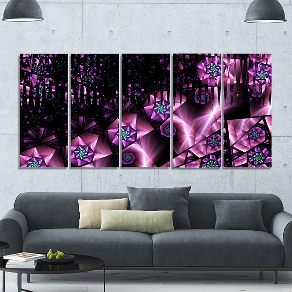 Purple Radiance Of Starry Sky Abstract Wall Art Canvas - 5 Panels