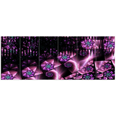 Purple Radiance Of Starry Sky Abstract Wall Art Canvas - 6 Panels