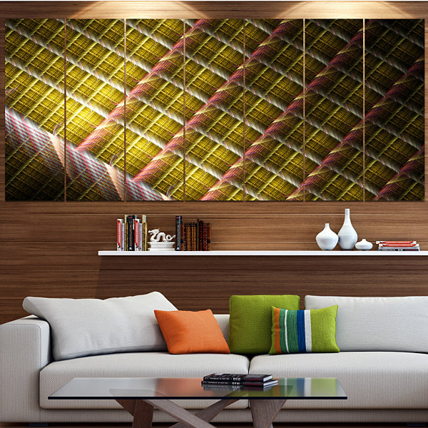 Designart Brown Metal Protective Grids Abstract Wall Art Canvas - 4 Panels