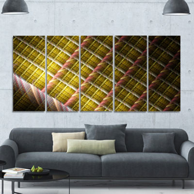 Designart Brown Metal Protective Grids Abstract Wall Art Canvas - 5 Panels