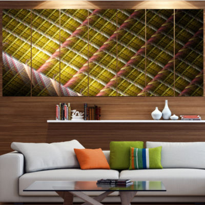 Designart Brown Metal Protective Grids Abstract Wall Art Canvas - 7 Panels