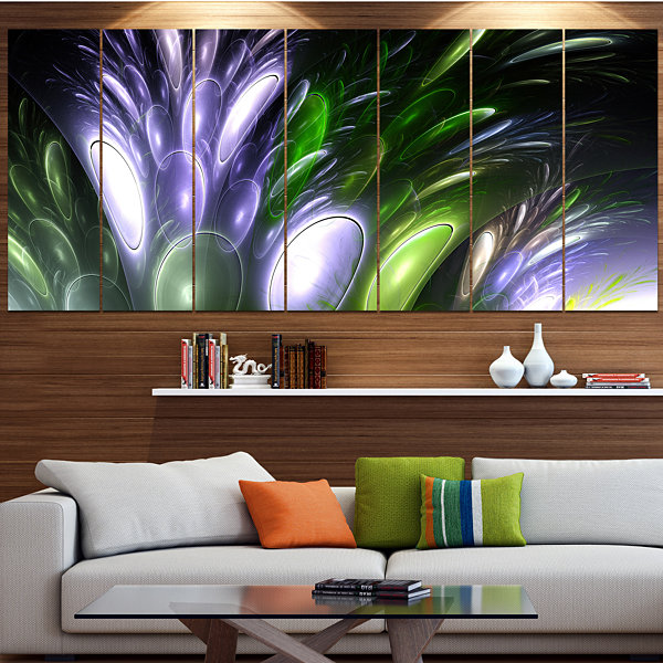 Mysterious Psychedelic Flower Contemporary Wall Art Canvas - 5 Panels