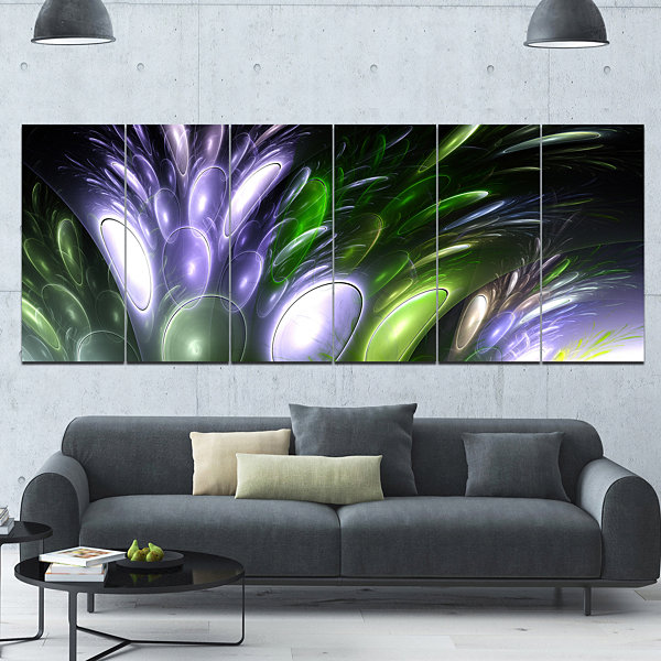Mysterious Psychedelic Flower Abstract Wall Art Canvas - 6 Panels