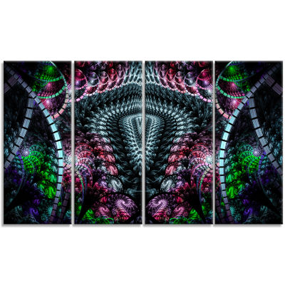 Strange Fractal Design On Black Abstract Wall ArtCanvas - 4 Panels