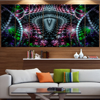 Strange Fractal Design On Black Contemporary WallArt Canvas - 5 Panels