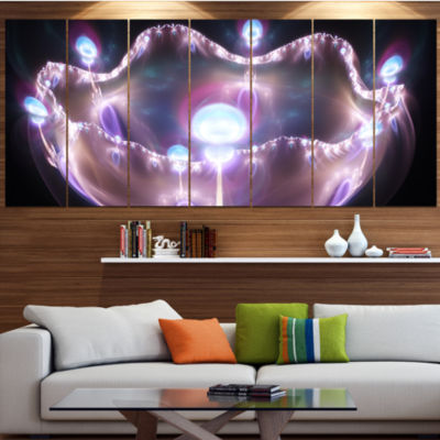 Designart 3D Surreal Purple Illustration AbstractCanvas ArtPrint - 6 Panels