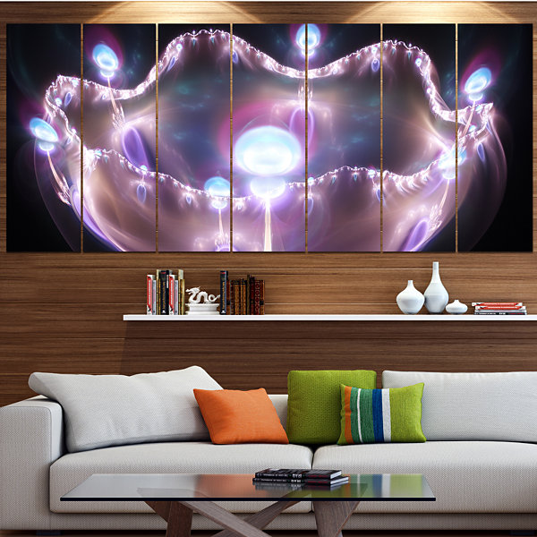 Designart 3D Surreal Purple Illustration AbstractCanvas ArtPrint - 7 Panels