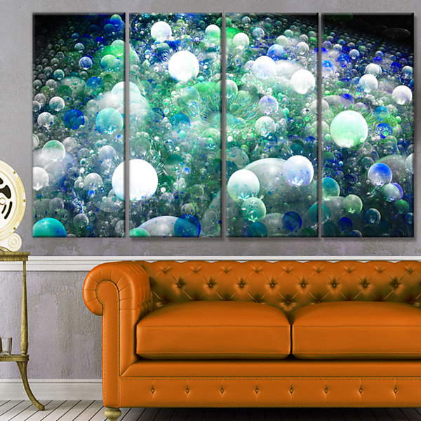Designart Colorful Molecules Fractal Design Abstract CanvasArt Print - 4 Panels