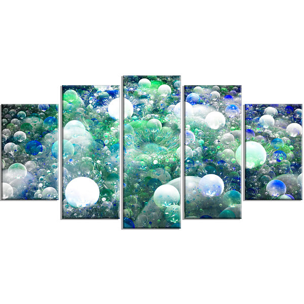 Designart Colorful Molecules Fractal Design Contemporary Canvas Print Art - 5 Panels