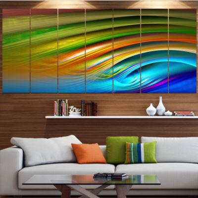 Designart Colorful Fractal Water Ripples AbstractCanvas ArtPrint - 4 Panels