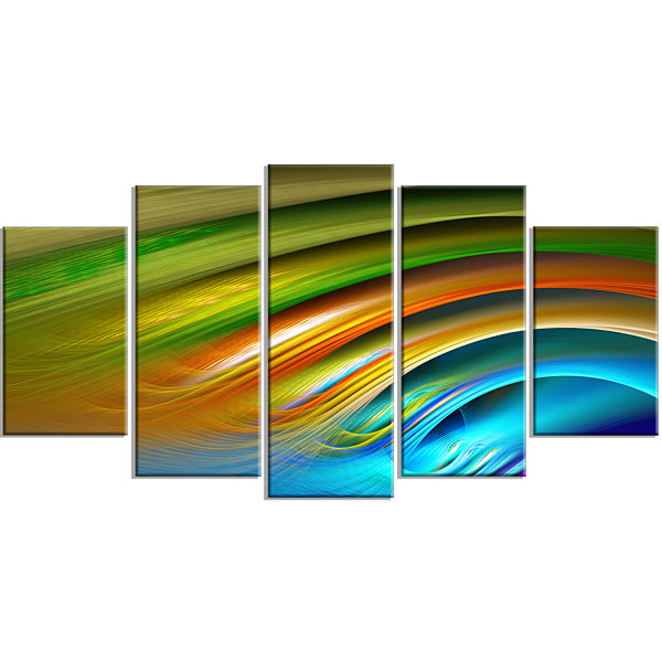 Designart Colorful Fractal Water Ripples Contemporary CanvasPrint Art - 5 Panels