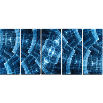 Blue Protective Metal Grids Abstract Canvas Art Print - 5 Panels