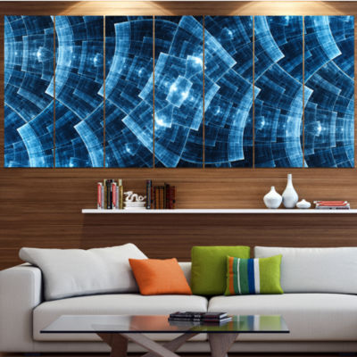 Blue Protective Metal Grids Abstract Canvas Art Print - 6 Panels