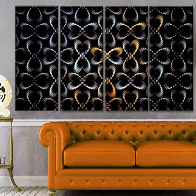 Yellow Pattern Of Butterflies Abstract Canvas ArtPrint - 4 Panels