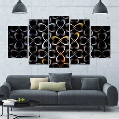 Yellow Pattern Of Butterflies Contemporary CanvasArt Print - 5 Panels