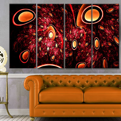 Red 3D Surreal Abstract Design Abstract Canvas ArtPrint - 4 Panels