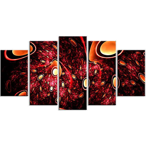 Red 3D Surreal Abstract Design Contemporary CanvasArt Print - 5 Panels