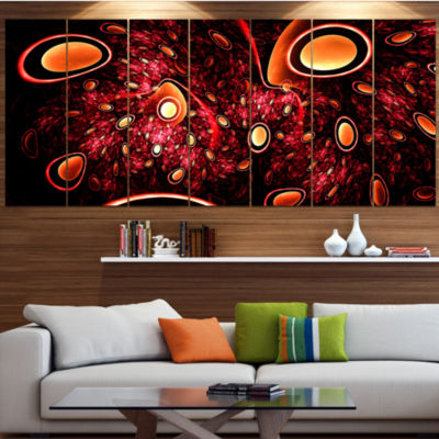 Red 3D Surreal Abstract Design Abstract Canvas ArtPrint - 6 Panels