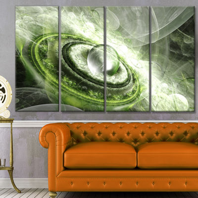 Green Fractal Flying Saucer Abstract Canvas Art Print - 4 Panels