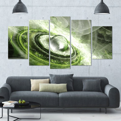 Green Fractal Flying Saucer Contemporary Canvas Art Print - 5 Panels