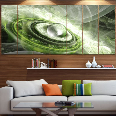 Green Fractal Flying Saucer Abstract Canvas Art Print - 7 Panels