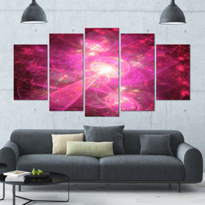 Pink Fractal Space Theme Contemporary Canvas Art Print - 5 Panels