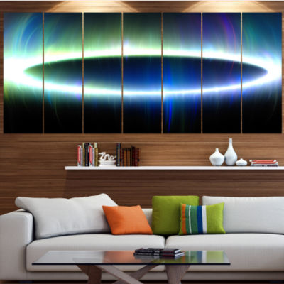 Large Blue Oval Fractal Light Contemporary CanvasArt Print - 5 Panels