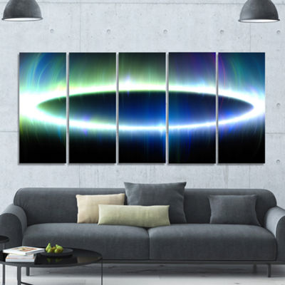 Large Blue Oval Fractal Light Abstract Canvas ArtPrint - 5 Panels