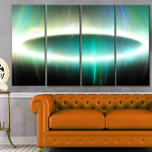Large Green Oval Fractal Light Abstract Canvas ArtPrint - 4 Panels