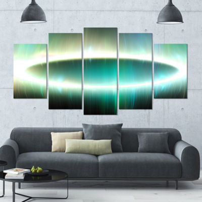 Large Green Oval Fractal Light Contemporary CanvasArt Print - 5 Panels