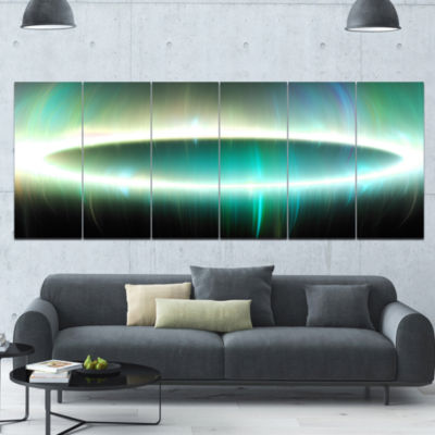 Large Green Oval Fractal Light Abstract Canvas ArtPrint - 6 Panels