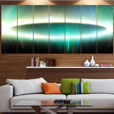Large Green Oval Fractal Light Abstract Canvas ArtPrint - 7 Panels