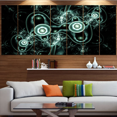 Designart Blue On Black 3D Surreal Design AbstractCanvas Art Print - 4 Panels