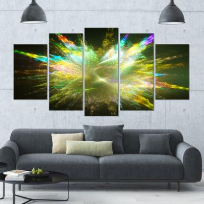 Fractal Explosion Of Paint Drops Contemporary Canvas Art Print - 5 Panels